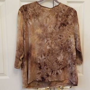 only Nine Tops - Brown and Tan cafe length sleeve top